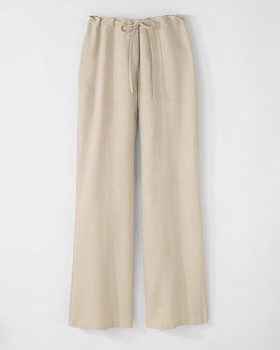 Spiegel Signature Washed Linen: Wide Leg Drawstring Pants