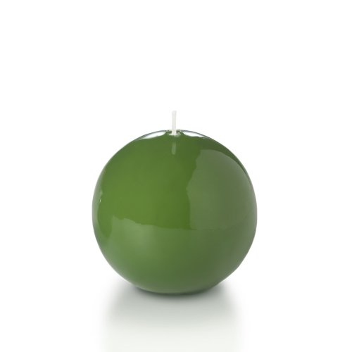 "Yummi 3"" High Gloss Sphere Ball Candles, Green Tea - 3 Per Pack"