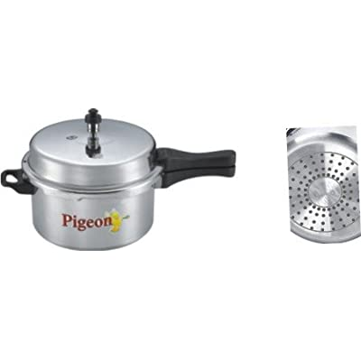 Pigeon Calida Induction Base Aluminium Pressure Cooker with Outer Lid, 7.5 Litres