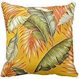 Hawaiian Garden Tropical Leaves | yellow orange Pillow case2424