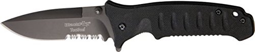 Black Fox Tactical Linerlock Fold Knife, 4In, Ss Assisted Opening Partially Serrated Bf-115Ts