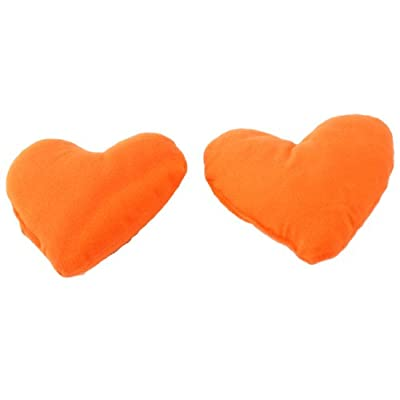 2 Pcs Orange Hearts Pet Dog Puppy Cute Neck Pillow Headrest Pad Toy