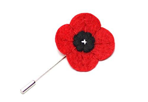 """Melly'S Bow Men'S Poppy Wool Felt Lapel Flower 1.5"""" Red"""