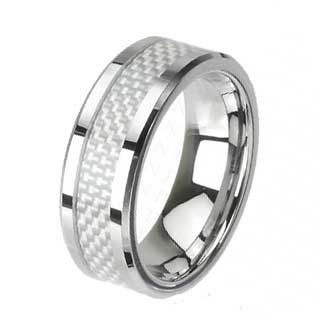 8MM Tungsten Ring with Carbon Fiber Center Inlay and High Polished Edges