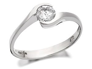 9ct White Gold Cubic Zirconia Solitaire Twist Ring - J