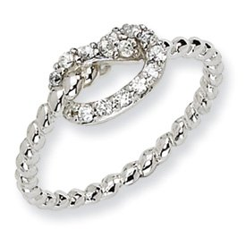 Genuine IceCarats Designer Jewelry Gift Sterling Silver Cz Knot Ring Size 7.00