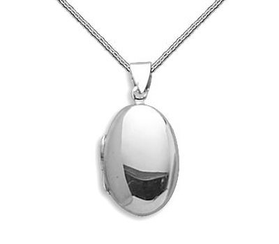Small Oval Locket Sterling Silver Polished Holds 2 Pictures, 13-inch