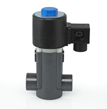 Plast-O-Matic EASYMT Series PVC Solenoid Valve, For Corrosive and Ultra-Pure Liquids, 2 Ways, Normally Closed, Viton Diaphragm, NPT Female