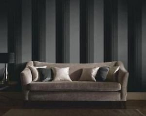 Feature Wall Regency Stripe Wallpaper - Black and by New A-Brend