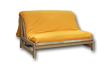 Sofá cama Fold-Bed, funda amarilla, 140x200x30 cm