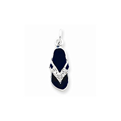 Sterling Silver Cz And Blue Enameled Flip Flop Charm, Best Quality Free Gift Box Satisfaction Guaranteed