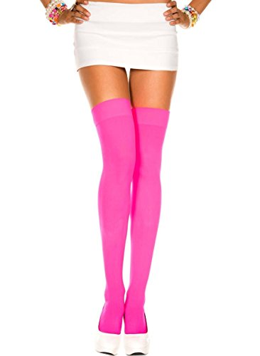 DarlingLove Women's Solid Opaque Thigh High Hot Pink Stockings Sock Firm Support