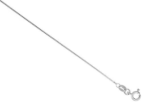 Sterling Silver Italian Box Chain Necklace 0.8mm Very Thin Nickel Free, Sizes 7 - 30 inch