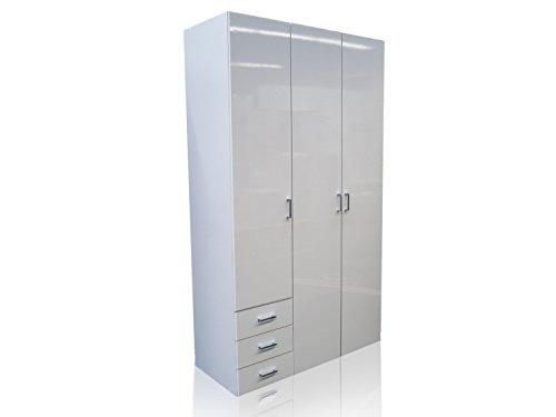 Kleiderschrank-Schrank-Kinderschrank-Schlafzimmer-3-Trig-Hochglanz-Wei-Weiss