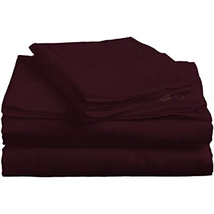 PEARLBEDDING Egyptian cotton Flat sheet with Duvet cover 400TC Stripe ( Cal-King , Wine ) sale off 2015