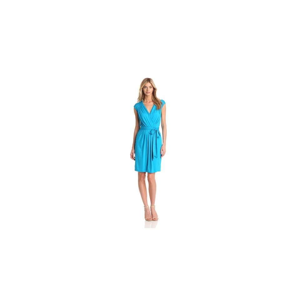 Three Dots Womens Cap Sleeve Faux Wrap Dress With Tie
