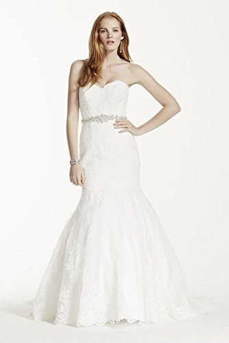 Lace Petite Strapless Wedding Dress with Beaded Sash Style 7V3680, Soft White...
