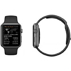 Apple Watch Band, STOUCH Multi color high-performance fluoroelastomer Strap Wrist Band Replacement W/ Metal Clasp for Apple Watch Sport Edition - 42mm Black