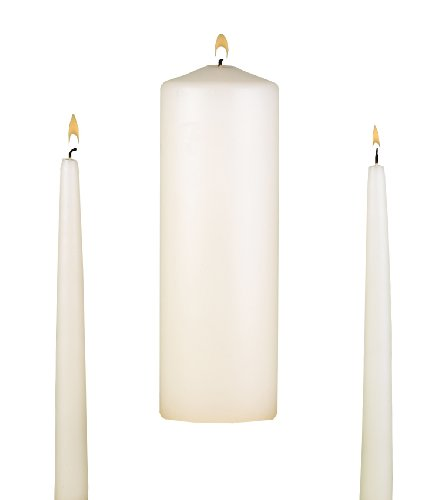 Hortense B. Hewitt Wedding Accessories, Unity Candle Set, Ivory, 9-Inch Pillar and 2 10-Inch Tapers