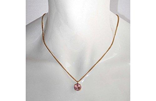 HOMA 3 - Collana donna girocollo, catenina dorata con ciondolo Swarovski elements Rosa