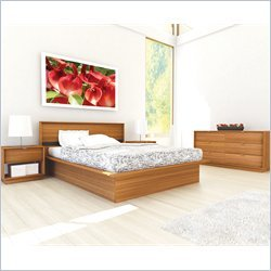 Sonax Manning Contemporary Enternity Walnut Double Bed 4 Piece Set