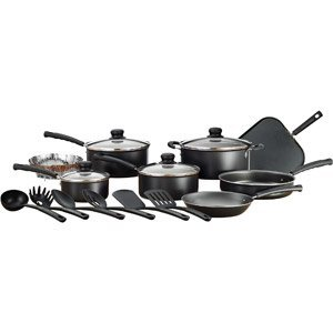 Cookware Set 18 Pc Nonstick Black Mainstays With Glass Lids