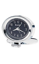 Bulova Travel Adamo Black Dial Alarm Clock #B6842