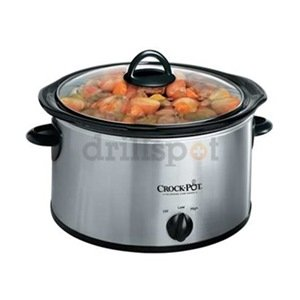 Crock-Pot 3040-BC 4-Quart Round Manual Slow Cooker, Stainless Steel from Crockpot