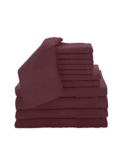 Luxury Home 12-Piece Super Plush Egyptian Cotton Towel Set, Cranberry