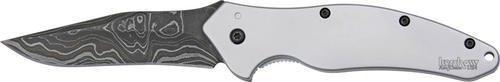 "Kershaw 1840DAM Shallot Folding Knife Assisted 3-1/2"" Damascus Plain Blade, Stainless Steel Handles"