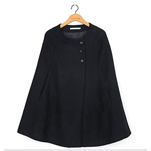 【D's Fashion】 レディース ポンチョ 風 コート ジャケット ショート 丈 ノーカラー ダブル ボタン セレブ Aライン (002ブラックXL)
