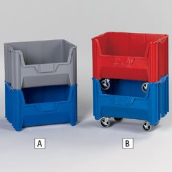 QUANTUM Giant Stacking Bins - Red - Lot of 3