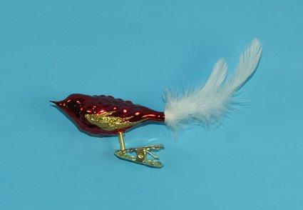 Vogel mit Federschwanz rot glanz