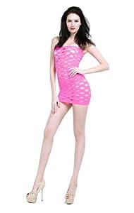 Selebritee No.79 Girl's Super Elastic Mesh Pure Minidress with Open Holes Design (Pink)