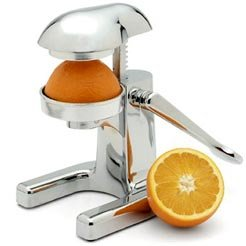 Metrokane Mighty OJ - Manual Citrus Juicer - Chrome Juice Press