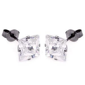 Stainless Steel Cubic Zirconia Clear Square Stud Earrings (3mm)