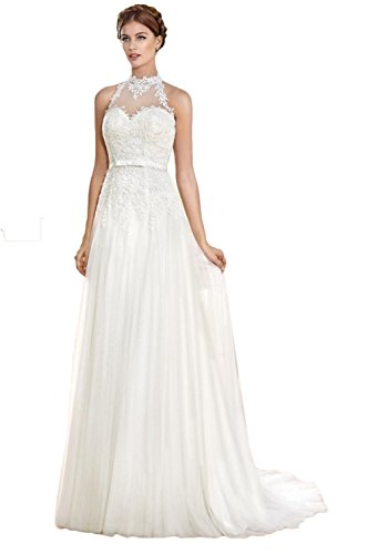 Meledy Womens V-Neck Lace Wedding Dresses for Bridal Ruched Beach Bridal Gowns