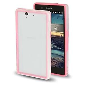 TPU + Transparent Plastic Bumper Frame Case for Sony Xperia Z / L36H / C660X (Pink)
