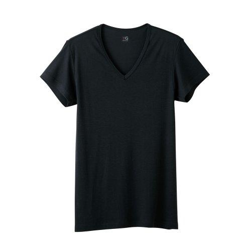 (グンゼ)GUNZE YG(ワイジー) DRYシリーズ/ALL SEASON VネックTシャツ YV0115 97 ブラック LL