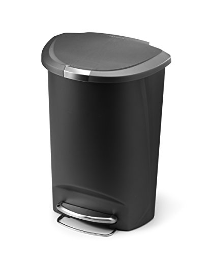 simplehuman Semi-Round Step Trash Can, Grey Plastic, 50 L / 13.2 Gal (Garbage Can Lock compare prices)