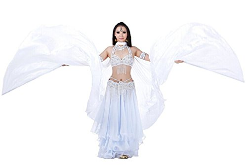 Dreamspell 2014 pure white Simulated Silk belly dance wings best gift stage props