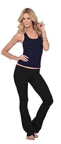 Pantaloni donna eleastici cotone vita ripiegabile sportivi a zampa ginnastica yoga