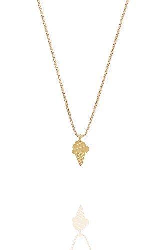 Malaika Raiss - Feine Kette mit Soft Ice Anhänger - N3116b - Silber 18 Karat vergoldet - Kettenlänge 45 cm