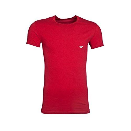 Emporio Armani -  T-shirt - Collo a U  - Maniche corte  - Uomo rubino X-Large