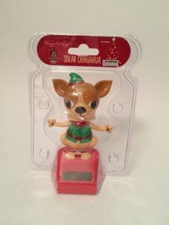 Happy Holidays Solar Powered Dancing Chihuahua Elf In Green Color Christmas Cloth. (Light Brown) (Solar Powered Dancing Groot compare prices)