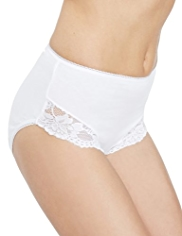 2 Pack Cotton Rich Light Control Lace High Leg Knickers