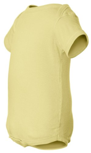 Rabbit Skins 4400 Infant Baby Rib Lap-Shoulder Bodysuit - Banana, 24 Month
