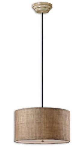 Uttermost Dafina 3 Light Burlap Drum Pendant by Uttermost