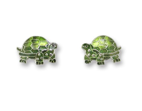 Tortoise Enameled Sterling Silver Post Earrings