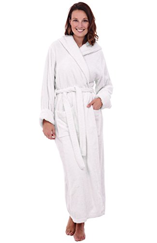 Del Rossa Women's Turkish Terry Cloth Robe, Long Cotton Hooded Bathrobe, Small Medium White (A0127WWHMD) (Hooded Terry Cloth Robe For Women compare prices)